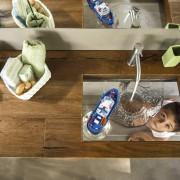Mensole in legno grezzo con lavabo trasparente da Soluzioni D'Interni